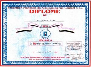 09 - FFKBFCDA - Diplome d'instructeur - 08.03.1996